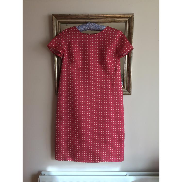 red and cream spotty silk twill shift dress