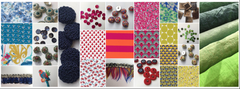 dressmaking fabrics, buttons, feather trims, sew-on snap fasteners, haberdashery and sewing essentials