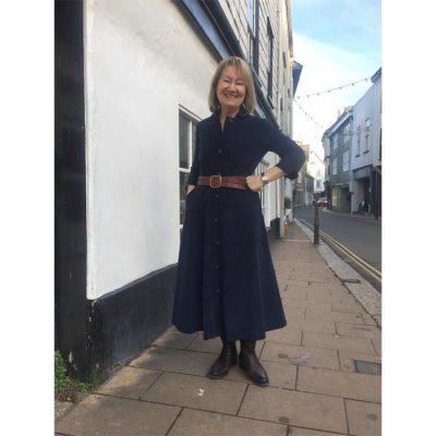 needlecord shirtwaister dress