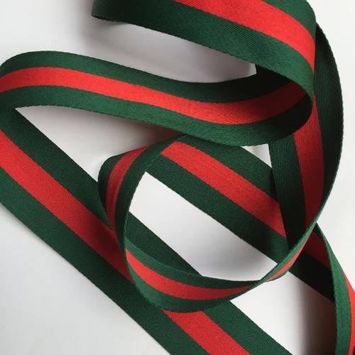 green and red stripe polyester silky webbing