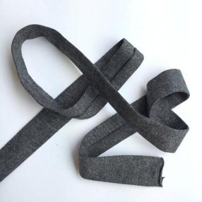 charcoal grey marl cotton jersey bias binding