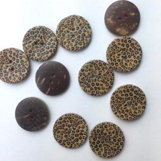 leopard print coconut wood button