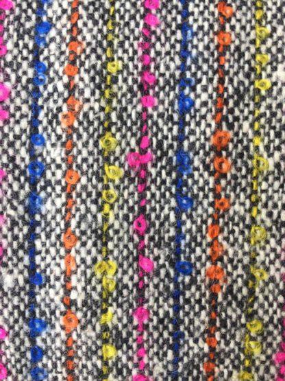 bouclé neon stripe in donegal type tweed British wool