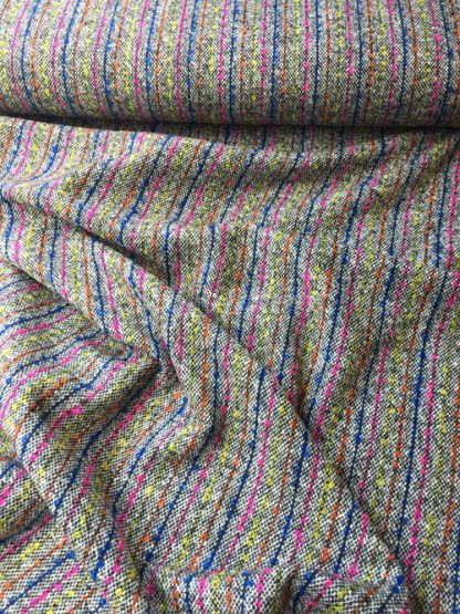 bouclé tweed neon stripe british made wool
