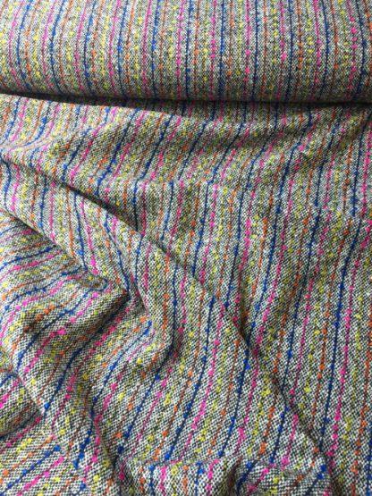 bouclé tweed neon stripe british made wool