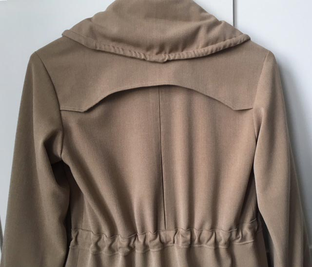 worsted wool trench coat back using ready to sew Jack pattern