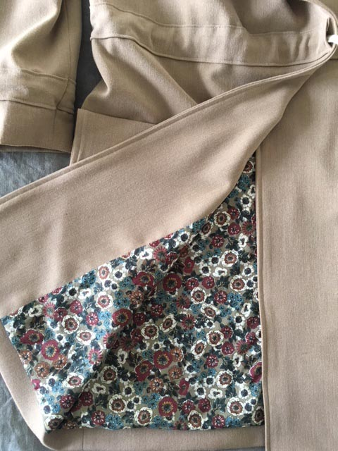 worsted wool trench coat showing floral cotton lawn lining using ready to sew Jack pattern