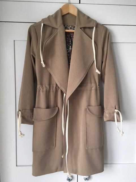 worsted wool trench coat using ready to sew Jack pattern