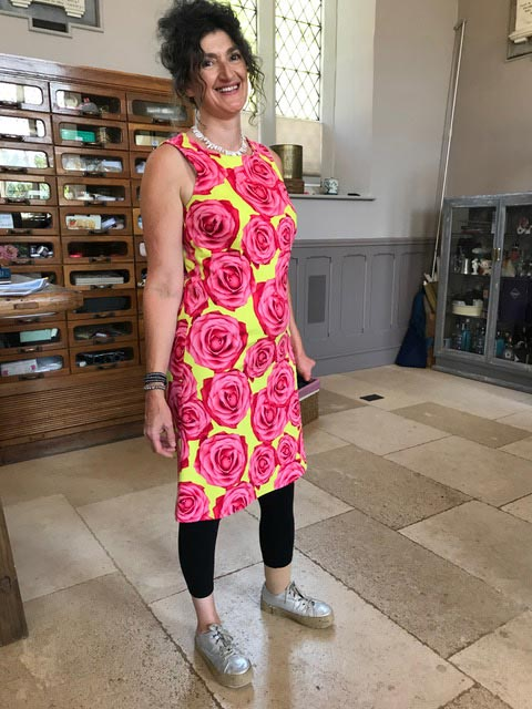 hot pink and acid yellow rose print stretch cotton sateen shift dress made from Wendy Ward's book The Beginner's Guide to Dressmaking