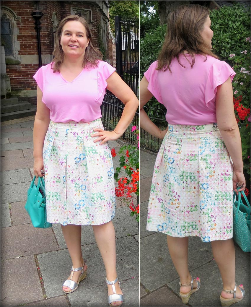 floral print spotty brocade pleated skirt