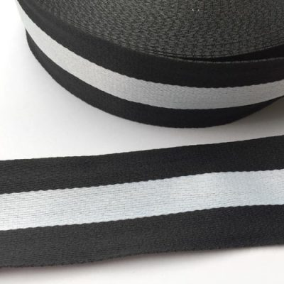 Black and white silky webbing braid for side seam trouser stripes and more
