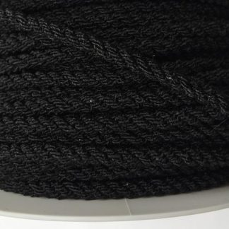Black elasticated round braided cord