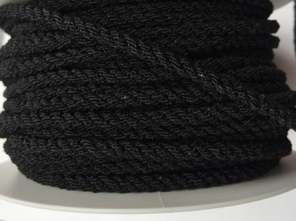 Black elasticated round braided cord