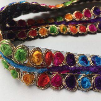 Black and Multicolour chenille braid