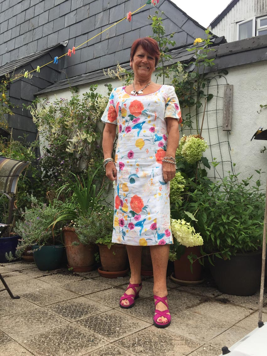 Japanese nani IRO printed linen shift dress