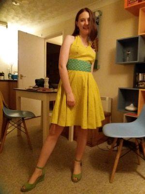 yello linen self drafted circular skirt dress