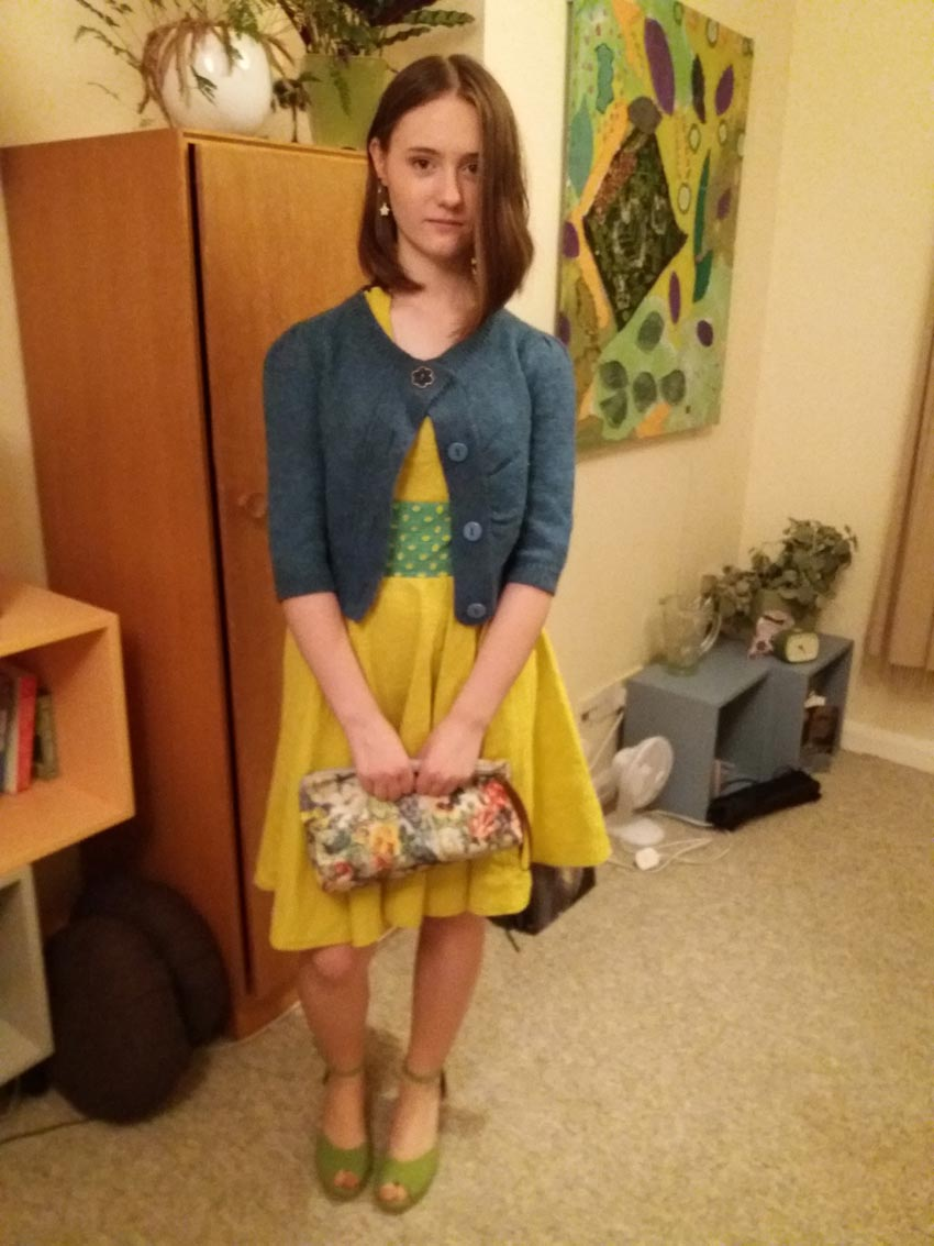 mustard yellow linen self drafted dress with circular skirt
