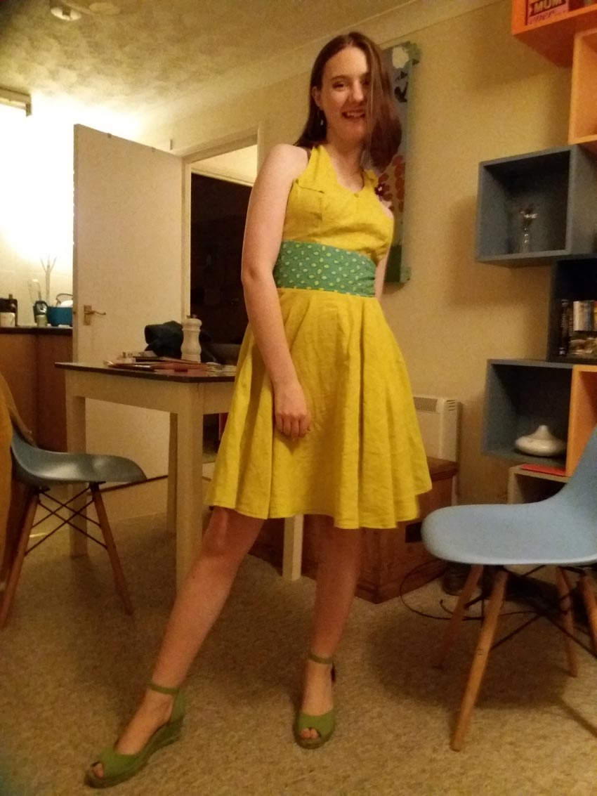 yello linen self drafted circular skirt dress