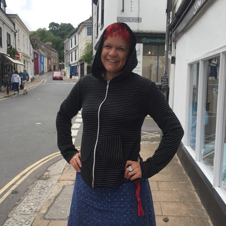 Black Pinstripe double wool jersey hoody