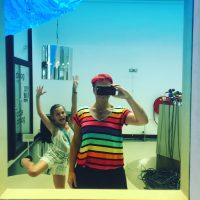 rainbow stripe print viscose jersey t-shirt