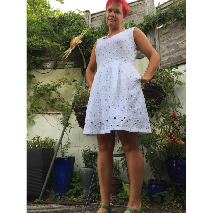 White Broderie Anglaise dress from Burda magazine 06/2018