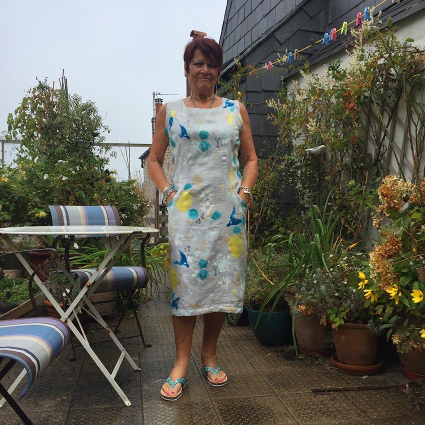 nani IRO print linen from Kokka made up using Vogue 1412 Karl Lagerfield sewing pattern