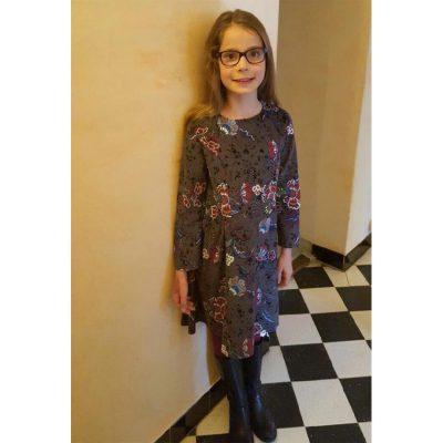 printed needlecord long sleeve dress
