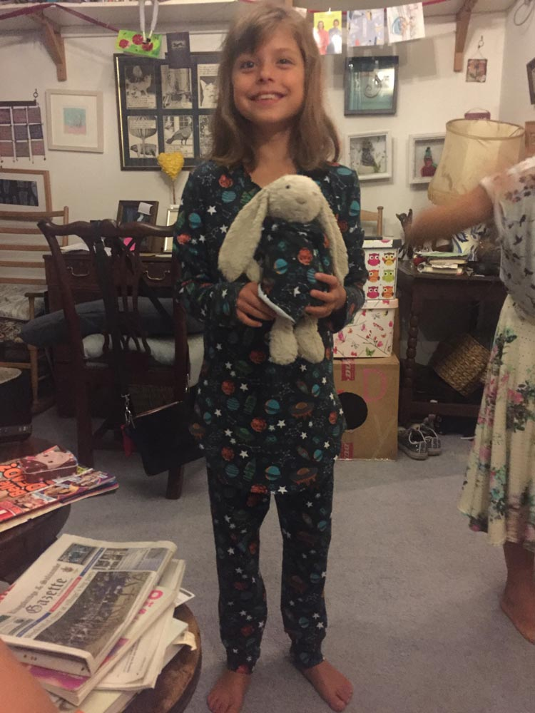 space print pyjamas made by Miaow (mostly by herself)