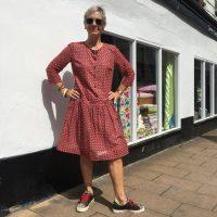 red designer print cotton voile shirt dress