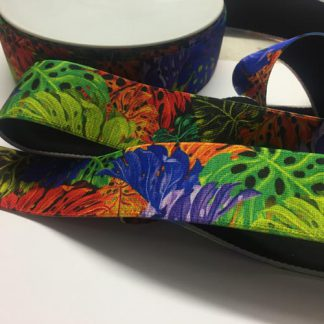 Tropical print patterned elastic for waistbands