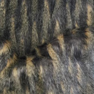 grey and brown long pile luxury faux fur