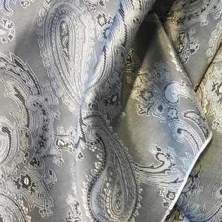 silver grey and black paisley patterned jacket lining