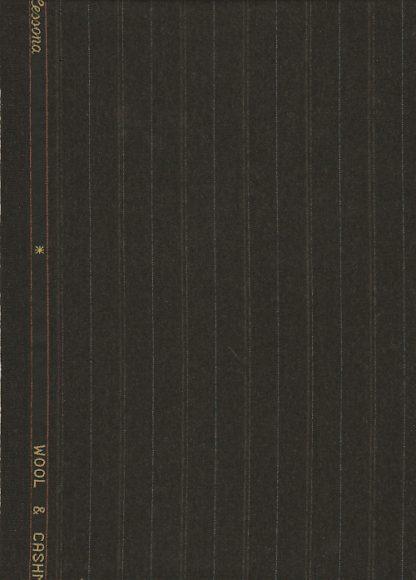 dark brown pinstripe worsted wool suiting