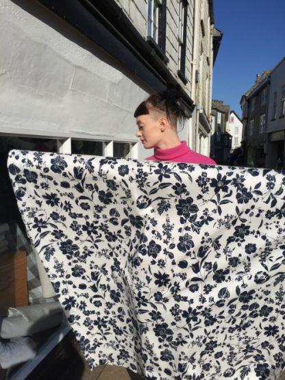 monotone floral print stretch cotton sateen