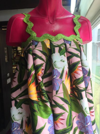 green and pink spikey floral print stretch cotton sateen
