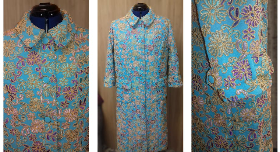 Metallic Embroidered Viscose Evening Coat