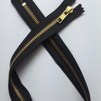 "black exposed zipper 20"" long 50cm gold metal teeth"