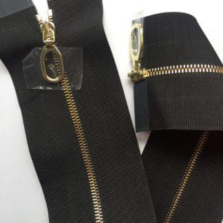 Black grosgrain wide tape decorative two-way open end metal zip