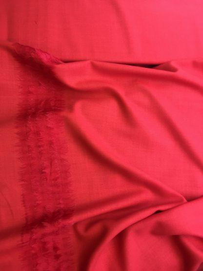 Designer Red wool challis with silk organza border trim