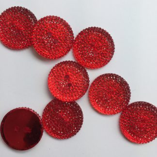 red jelly effect sparkle plastic 2 hole button