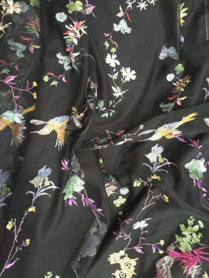 black embroidered tulle with humming birds