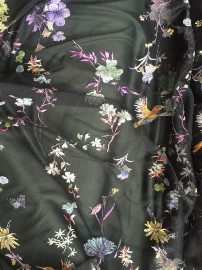 hummingbird and floral embroidered tulle fabric
