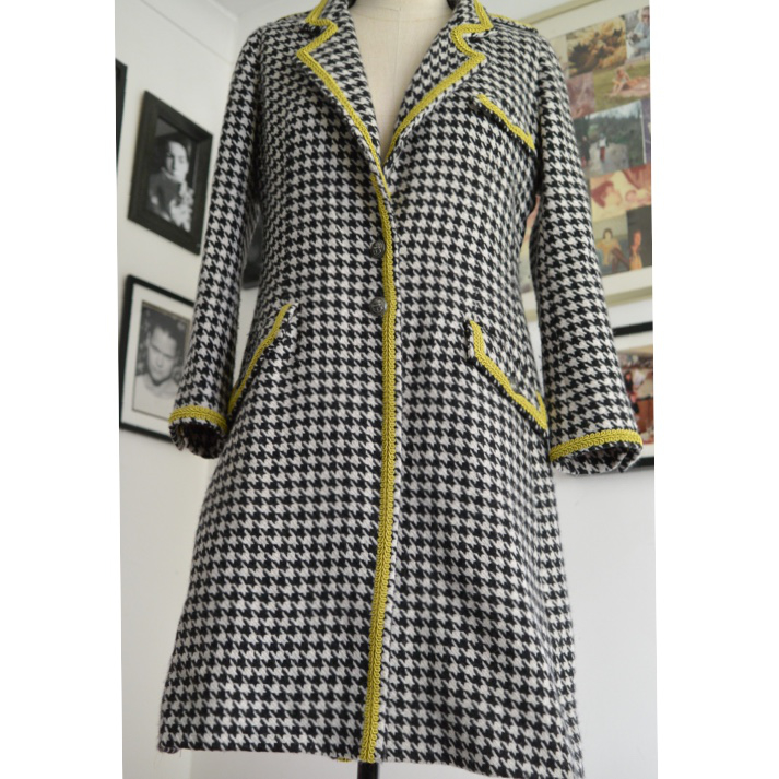 supersoft wool tweed dogtooth check coat with epaulettes and gimp trim