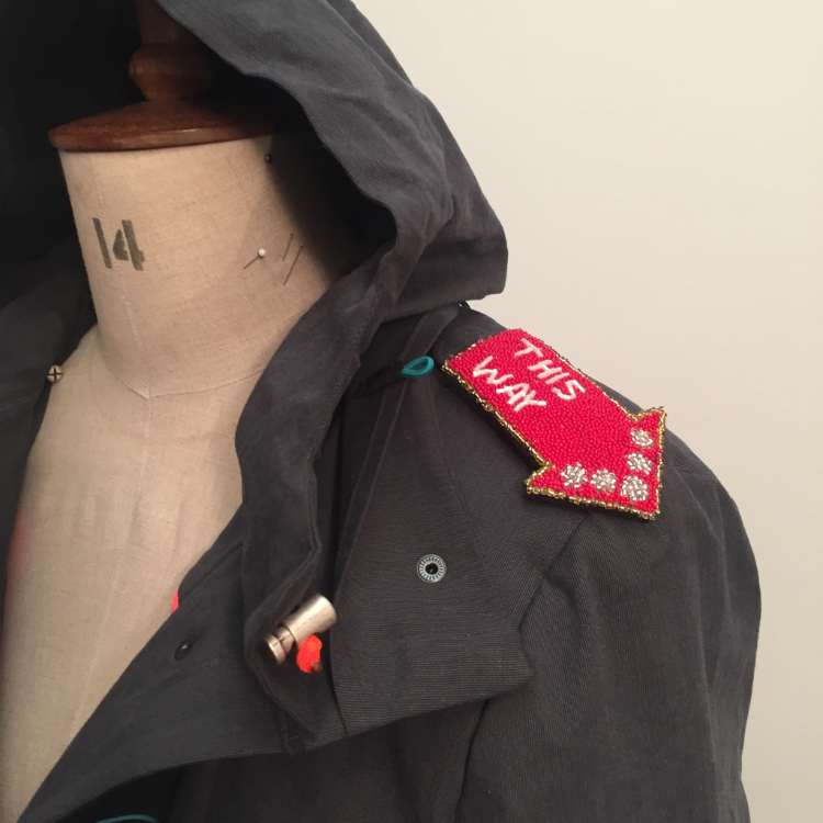 kelly anorak by closet case patterns made using quilted silk lining, grey herringbone cotton and beaded epaulettes