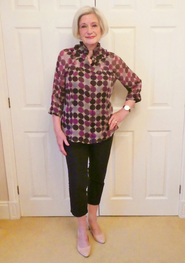 aubergine spot silk chiffon blouse