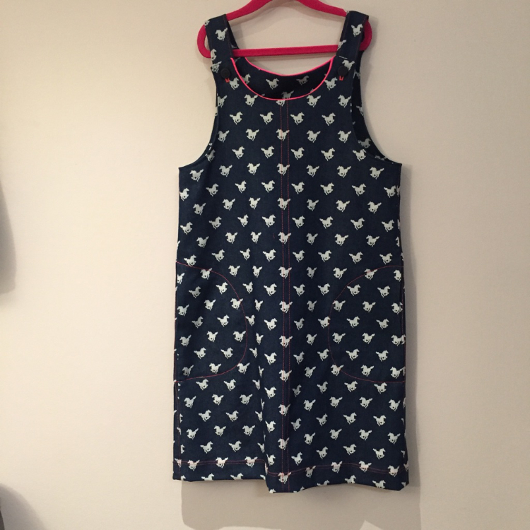 horse print stretch denim pinafore dress