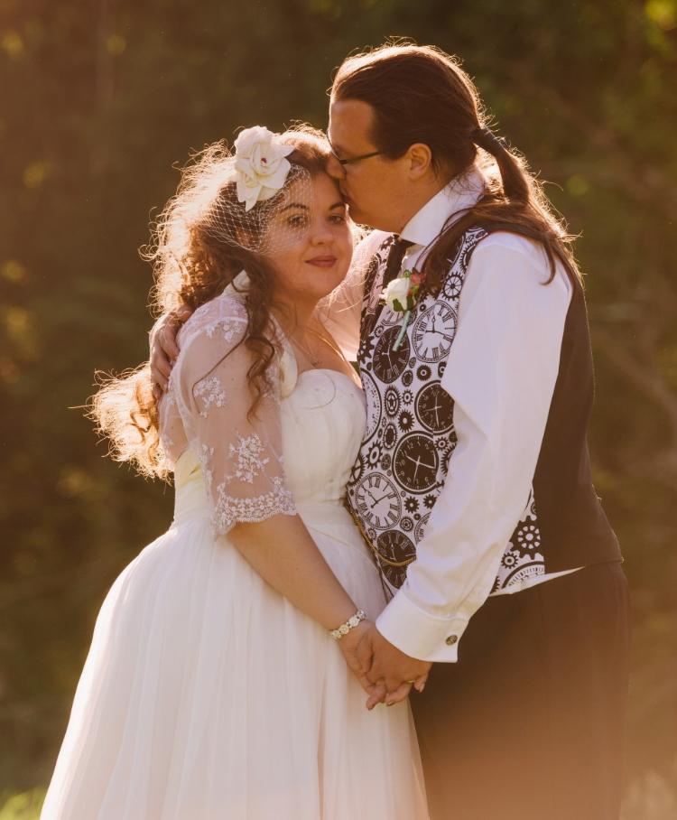 ivory taffeta and chiffon wedding dress