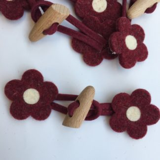 burgundy daisy felt duffle toggle with wooden button