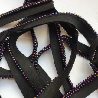 Black and iridescent petrol and Plum glass beaded edge bias binding ready-made piping