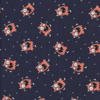 glow in the dark eyes on monsters printed cotton jersey fabric